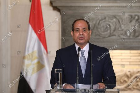 Egyptian President Abdel Fattah al-Sisi speaks during a joint news conference with Greek Prime Minister Kyriakos Mitsotakis (not pictured) at Maximos Mansion in Athens, Greece, 11 November 2020. Egyptian President Abdel Fattah al-Sisi is in Athens for a two-day visit.