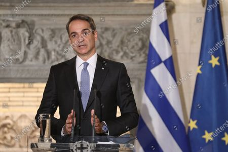 Stock Photo of Greek Prime Minister Kyriakos Mitsotakis speaks during a joint news conference with Egyptian President Abdel Fattah al-Sisi (not pictured) at Maximos Mansion in Athens, Greece, 11 November 2020. Egyptian President Abdel Fattah al-Sisi is in Athens for a two-day visit.