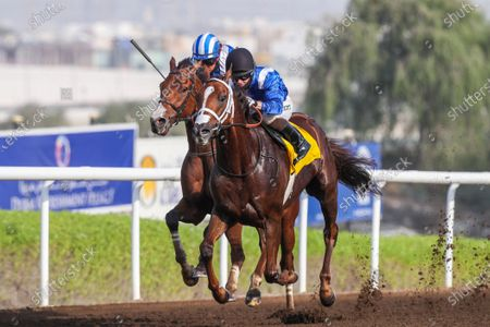GABR (GB) ridden by Sam Hitchcott wins the 8F Conditions Shadwell Handicap, race 4, at Jebel Ali, Dubai, UAE