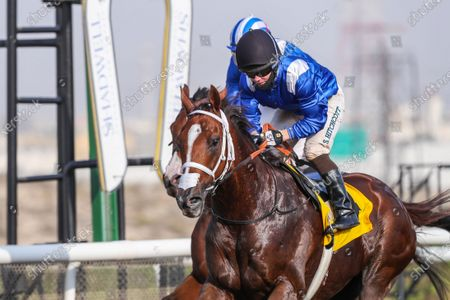 Stock Image of GABR (GB) ridden by Sam Hitchcott wins the 8F Conditions Shadwell Handicap, race 4, at Jebel Ali, Dubai, UAE