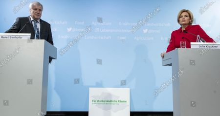 German Minister of Interior, Construction and Homeland Horst Seehofer (L) and German Minister of Food and Agriculture Julia Kloeckner (R) during a press conference to present third report of the Federal Government on the development of rural areas at the Federal Ministry of Food and Agriculture in Berlin, Germany, 11 November 2020. German government is supporting rural areas by strengthening infrastructure and volunteerism to promoe cultural offerings and providing a centralised supply of fast Internet access.