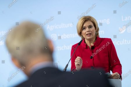 Stock Photo of German Minister of Food and Agriculture Julia Kloeckner during a press conference to present third report of the Federal Government on the development of rural areas at the Federal Ministry of Food and Agriculture in Berlin, Germany, 11 November 2020. German government is supporting rural areas by strengthening infrastructure and volunteerism to promoe cultural offerings and providing a centralised supply of fast Internet access.