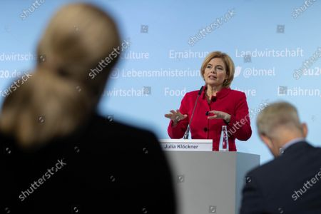 German Minister of Food and Agriculture Julia Kloeckner during a press conference to present third report of the Federal Government on the development of rural areas at the Federal Ministry of Food and Agriculture in Berlin, Germany, 11 November 2020. German government is supporting rural areas by strengthening infrastructure and volunteerism to promoe cultural offerings and providing a centralised supply of fast Internet access.