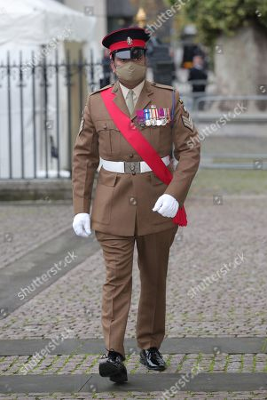 Stock Image of Victoria Cross recipient Johnson Beharry arrives at Westminster Abbey in London, to attend a service to mark Armistice Day and the centenary of the burial of the unknown warrior.