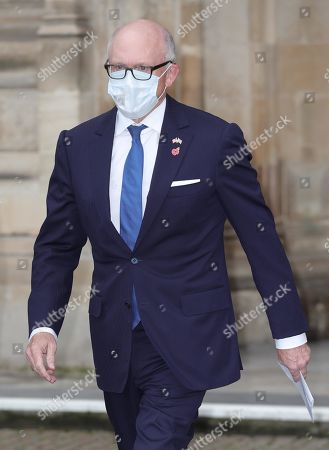 United States Ambassador to the United Kingdom Woody Johnson leaves Westminster Abbey in London, after attending a service to mark Armistice Day and the centenary of the burial of the unknown warrior.