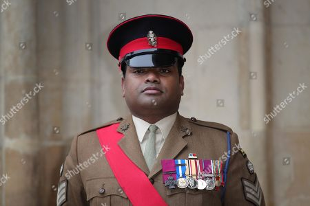Victoria Cross recipient Johnson Beharry arrives at Westminster Abbey in London, to attend a service to mark Armistice Day and the centenary of the burial of the unknown warrior.