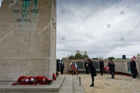 Stock Picture of Mrs Roberta Louise Fleet JP, the Lord Lieutenant of West Glamorgan lays a wreath during Armistice Day at the cenotaph in Swansea