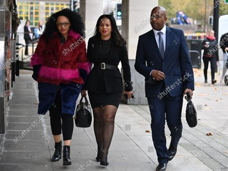 Labour MP CLAUDIA WEBBE MP (centre) arrives at Westminster Magistrates Court in London where she is charged with harassment. Webbe, who is the MP for Leicester East, is accused of harassing a woman