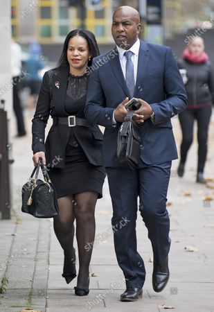 Labour MP CLAUDIA WEBBE MP (left) arrives at Westminster Magistrates Court in London where she is charged with harassment. Webbe, who is the MP for Leicester East, is accused of harassing a woman