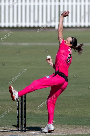 Stock Image of Ellyse Perry of the Sydney Sixers bowls the ball during the Women's Big Bash League cricket match between Perth Scorchers and Sydney Sixers