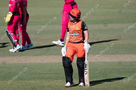 Heather Graham of the Perth Scorchers walks off after being dismissed during the Women's Big Bash League cricket match between Perth Scorchers and Sydney Sixers