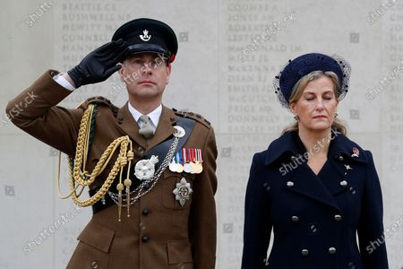 Britain's Prince Edward and Sophie Countess of Wessex, attend a service on the Armed Forces Memorial during Armistice Day commemorations at the National Memorial Arboretum in Stafford, England. A small number of visitors were invited to watch in person, due to the covid-19 pandemic, and the service was also streamed on social media