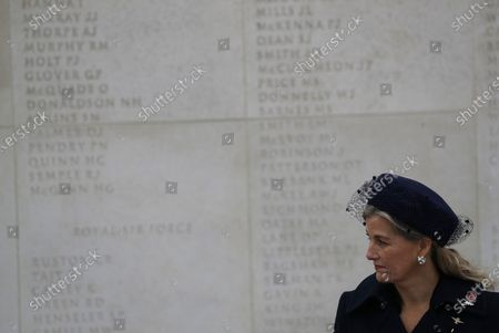 Britain's Sophie Countess of Wessex, attends a service on the Armed Forces Memorial during Armistice Day commemorations at the National Memorial Arboretum in Stafford, England. A small number of visitors were invited to watch in person, due to the covid-19 pandemic, and the service was also streamed on social media