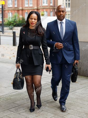 Claudia Webbe MP (left) arrives at Westminster Magistrates Court charged with harassing a woman.