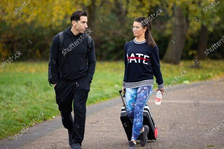 Stock Picture of Rebekah Vardy and training partner Andy Buchanan after Dancing On Ice rehearsals.