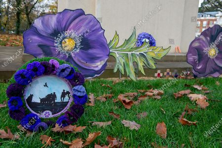 Stock Picture of A meadow of painted purple poppies by artist Jenna Fox have been left by the bronze scuplture of the War Horse Memorial in Ascot to mark Remembrance Sunday and Armistice Day 2020. Millions of horses, mules and donkey perished in the Great War. The bronze horse scuplture by Susan Leyland named Poppy, has a tear trickling from the horse's eye. People across the country will fall silent for two minutes at 11.00am on 11th November 2020 as they pay their respects to the war dead of World War I, World War II and more recent conflicts across the world