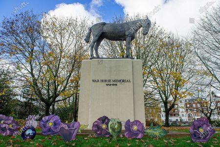 Editorial image of Armistice Day, War Horse Memorial, Ascot, Berkshire, UK - 10 Nov 2020