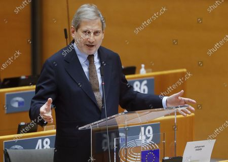 EU Commissioner for Budget Johannes Hahn speaks in front of European Parliament  mini plenary session on Multi annual framework (MFF) at the European Parliament in Brussels, Belgium, 11 November 2020.