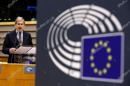 EU Commissioner for Budget Johannes Hahn addresses the EU Parliament during a plenary session, in Brussels, Belgium, 11 November 2020.