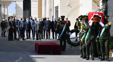 Palestinian Prime Minister Mohammad Ishtayeh, taks part in the funeral ceremony of the fighter Saeb Erekat, in the West Bank city of Ramallah, on November 11, 2020. Photo by Prime Minister Office