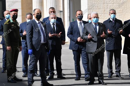 Stock Photo of Palestinian Prime Minister Mohammad Ishtayeh, taks part in the funeral ceremony of the fighter Saeb Erekat, in the West Bank city of Ramallah, on November 11, 2020. Photo by Prime Minister Office