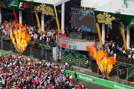 Stock Picture of Autodromo Hermanos Rodriguez, Mexico City, Mexico. Sunday 29 October 2017. DJ Hardwell plays from the podium after the driver celebrations with flame throwers either side. World Copyright: Charles Coates/LAT Images