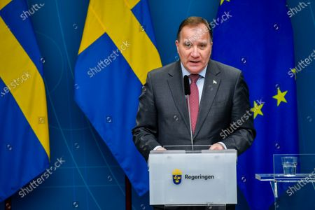 Sweden's Prime Minister Stefan Lofven gives a news conference on new restrictions to curb the spread of the coronavirus (Covid-19) pandemic, in Stockholm, Sweden, 11 November 2020. The Swedish government proposes a stop for the sale of alcohol after 10 pm from November 20 until the end of February.
