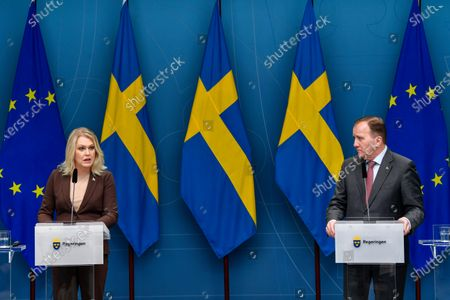 Editorial picture of Stefan Lofven at news conference on new restrictions during pandemic in Stockholm, Sweden - 11 Nov 2020