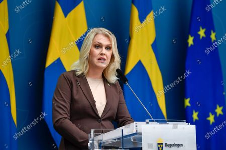Stock Image of Sweden's Minister for Health and Social Affairs Lena Hallengren gives a news conference on new restrictions to curb the spread of the corona (Covid-19) pandemic, in Stockholm, Sweden. The Swedish government proposes a stop for the sale of alcohol after 10 pm from Nov 20 until the end of February.