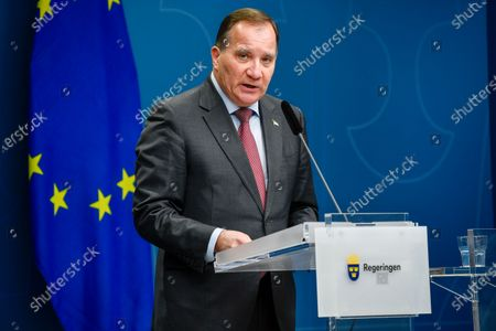 Sweden's Prime Minister Stefan Lofven gives a news conference on new restrictions to curb the spread of the corona (Covid-19) pandemic, in Stockholm, Sweden. The Swedish government proposes a stop for the sale of alcohol after 10 pm from Nov 20 until the end of February.