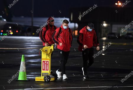 Stock Picture of George North, Jonathan Davies and Josh Adams arrive in Dublin with the Wales rugby team ahead of their match with Ireland on Friday.
