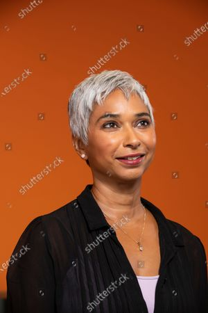 Stock Image of Feature at the Audible recording studio in London for Tim Dowling article.Pictured is actor and narrator Tania Rodrigues at the Audible studios.