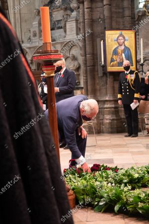His Royal Highness Prince Charles lays his Wreath on the Grave of the Unknown Warrior.The Service was led by The The Very Reverend John Hall, The Very Reverend Dr David Hoyle and attended by representative from various religious leaders and members of the armed forces.