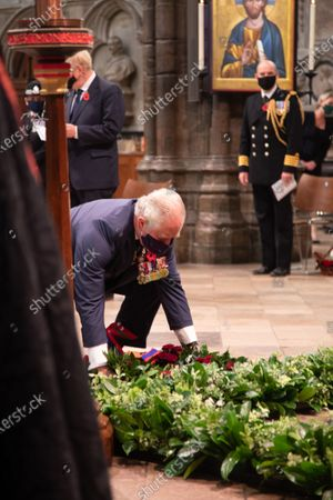 Stock Photo of His Royal Highness Prince Charles lays his Wreath on the Grave of the Unknown Warrior.The Service was led by The The Very Reverend John Hall, The Very Reverend Dr David Hoyle and attended by representative from various religious leaders and members of the armed forces.