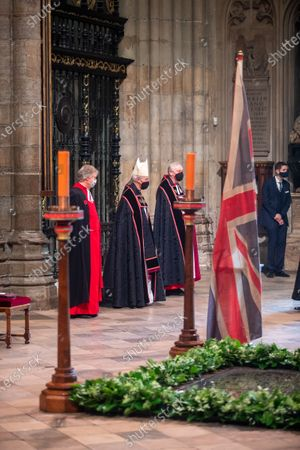 The Archbishop of Canterbury, The Most Reverend and Right Honourable Justin Welby, centre, awaits the start of the service.