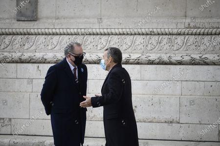 Nicolas Sarkozy and Richard Ferrand during a ceremony at the Arc de Triomphe in Paris