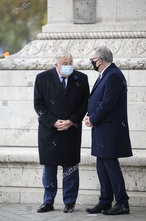 Gerard Larcher and Richard Ferrand during a ceremony at the Arc de Triomphe in Paris