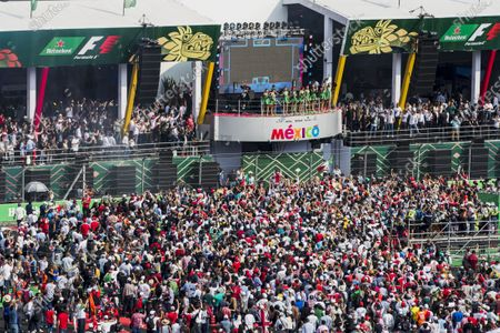 Stock Image of Autodromo Hermanos Rodriguez, Mexico City, Mexico. Sunday 29 October 2017. DJ Hardwell and the Heineken Grid Girls on the podium in Mexico. World Copyright: Zak Mauger/LAT Images