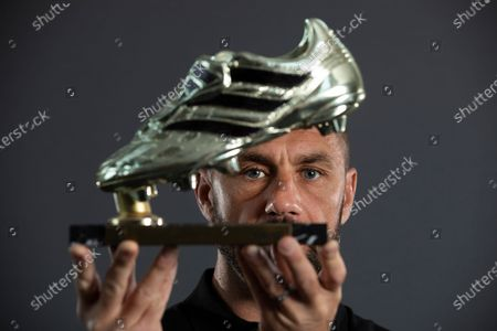 England and Sunderland striker Kevin Phillips at home in Lichfield with his European Golden Boot Trophy.