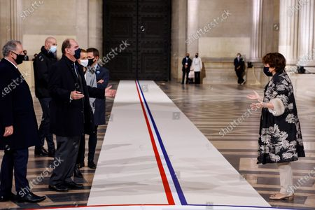 French National Assembly President Richard Ferrand (L), French Prime Minister Jean Castex (2nd L) and French Culture Minister Roselyne Bachelot (R) react inside the Pantheon, during a ceremony honouring the World War I soldiers and Maurice Genevoix who will be inducted to the Pantheon where key figures from France's history are honoured, in Paris, France, 11 November 2020, as part of the commemorations marking the 102nd anniversary of the 11 November 1918 Armistice, ending World War I (WWI). France on 11 November moves the remains of World War I writer Maurice Genevoix into its Pantheon of national heroes in Paris, an honour championed by the French president to encourage remembrance of the conflict. Genevoix wrote five memoirs of his time as a frontline soldier experiencing the horrors of trench warfare in the conflict, which he later collected into a single book 'Ceux de 14' ('Men of 14').