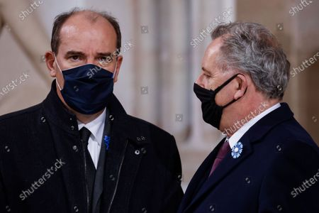 French Prime Minister Jean Castex (L) and President of the National Assembly Richard Ferrand (R) talk during a ceremony at the Pantheon honouring the World War I soldiers and French author Maurice Genevoix who will be inducted to the Pantheon where key figures from France's history are honoured, in Paris, France, 11 November 2020, as part of the commemorations marking the 102nd anniversary of the 11 November 1918 Armistice, ending World War I (WWI). France on 11 November moves the remains of World War I writer Maurice Genevoix into its Pantheon of national heroes in Paris, an honour championed by the French president to encourage remembrance of the conflict. Genevoix wrote five memoirs of his time as a frontline soldier experiencing the horrors of trench warfare in the conflict, which he later collected into a single book 'Ceux de 14' ('Men of 14').