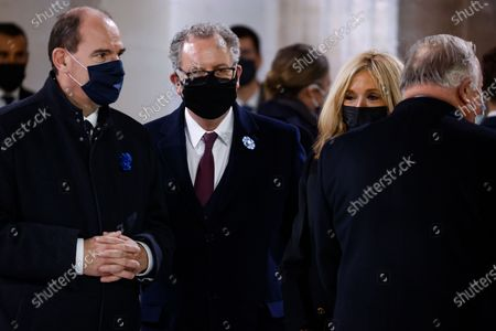 (L-R) French Prime Minister Jean Castex, President of the National Assembly Richard Ferrand, the wife of French President Brigitte Macron and President of the French Senate Gerard Larcher attend a ceremony at the Pantheon, honouring the World War I soldiers and French author Maurice Genevoix who will be inducted to the Pantheon where key figures from France's history are honoured, in Paris, France, 11 November 2020, as part of the commemorations marking the 102nd anniversary of the 11 November 1918 Armistice, ending World War I (WWI). France on 11 November moves the remains of World War I writer Maurice Genevoix into its Pantheon of national heroes in Paris, an honour championed by the French president to encourage remembrance of the conflict. Genevoix wrote five memoirs of his time as a frontline soldier experiencing the horrors of trench warfare in the conflict, which he later collected into a single book 'Ceux de 14' ('Men of 14').
