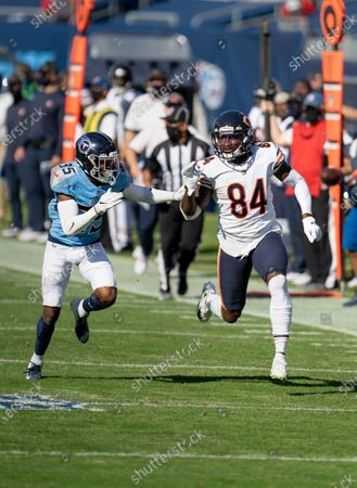 Chicago Bears wide receiver Cordarrelle Patterson (84) plays against Tennessee Titans defensive back Chris Jackson (35) during an NFL football game, in Nashville, Tenn