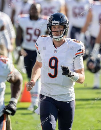 Chicago Bears quarterback Nick Foles (9) leaves the field during halftime of an NFL football game against the Tennessee Titans, in Nashville, Tenn