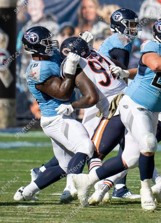 Stock Picture of Tennessee Titans offensive guard Rodger Saffold III (76) plays against Chicago Bears defensive end Mario Edwards Jr. (97) during an NFL football game, in Nashville, Tenn