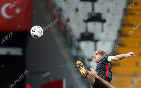 Stock Photo of Domagoj Vida of Croatia in action during the International Friendly soccer match between Turkey and Croatia in Istanbul, Turkey, 11 November 2020 (issued on 12 November 2020). Croatia's captain Domagoj Vida has been tested positive for the coronavirus COVID-19 disease early 12 November 2020 after playing the first half of the 3-3 draw with Turkey.