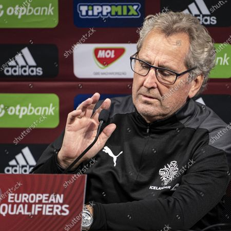 Head coach of the Icelandic national team Erik Hamren attends a press conference in Puskas Arena in Budapest, Hungary, 11 November 2020. Iceland will face Hungary in their UEFA EURO 2020 qualification play-off soccer match on 12 November 2020.