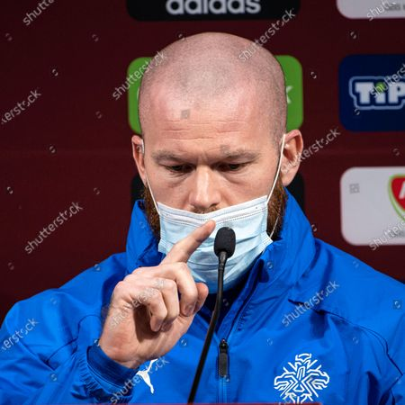 Stock Image of Captain of the Icelandic national team Aron Gunnarsson attends a press conference in Puskas Arena in Budapest, Hungary, 11 November 2020. Iceland will face Hungary in their UEFA EURO 2020 qualification play-off soccer match on 12 November 2020.