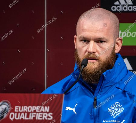 Captain of the Icelandic national team Aron Gunnarsson attends a press conference in Puskas Arena in Budapest, Hungary, 11 November 2020. Iceland will face Hungary in their UEFA EURO 2020 qualification play-off soccer match on 12 November 2020.
