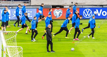 Head coach Erik Hamren (C) leads a training session at the Puskas Arena in Budapest, Hungary, 11 November 2020. Iceland will face Hungary in their UEFA EURO 2020 qualification play-off soccer match on 12 November 2020.